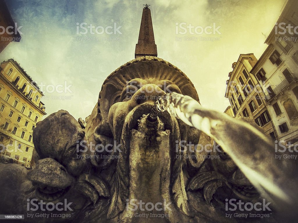 Emerging from Pantheon Fountain in Rome stock photo