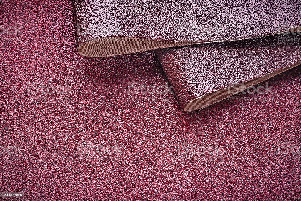 Emery paper on polishing sheet horizontal view stock photo