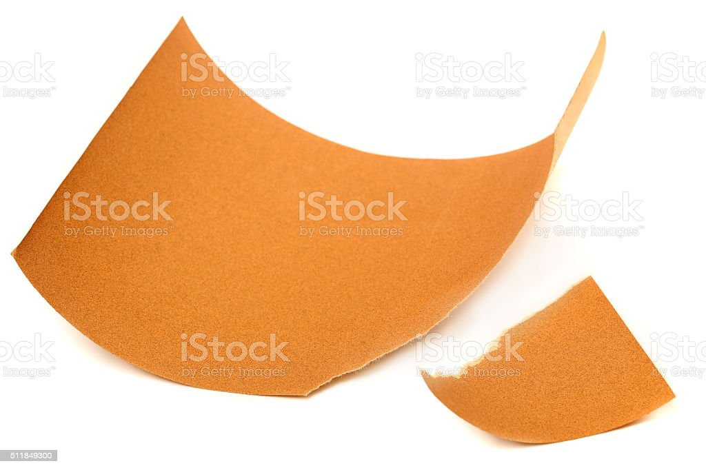 Emery paper - sandpaper isolated on white stock photo