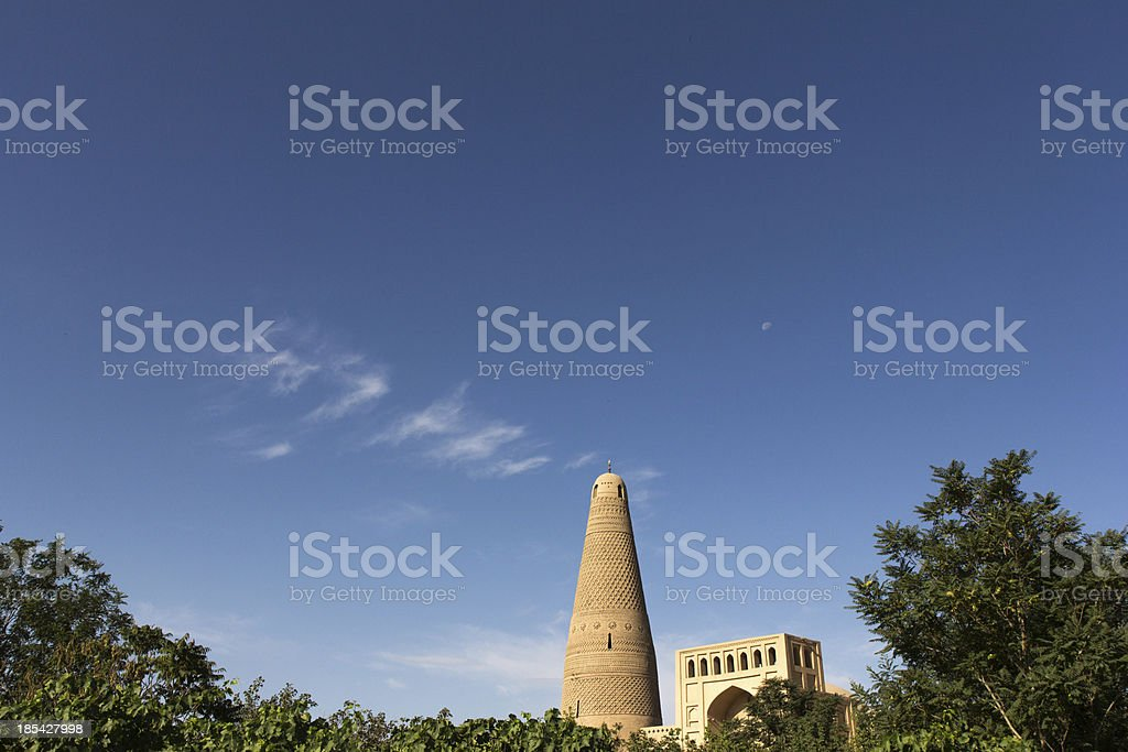 Emin Minaret with mosque in Turpan stock photo