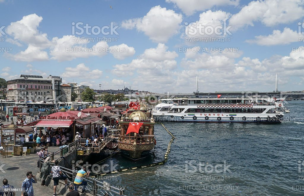 Eminonu district in Istanbul, Turkey. stock photo