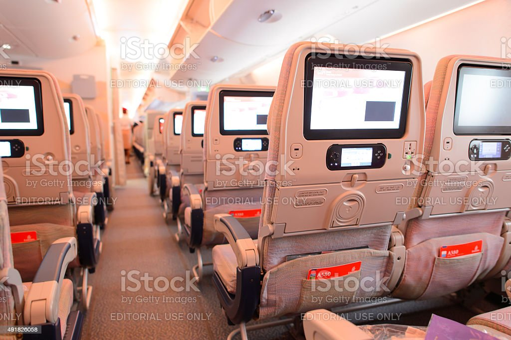 Emirates Airbus A380 aircraft interior stock photo
