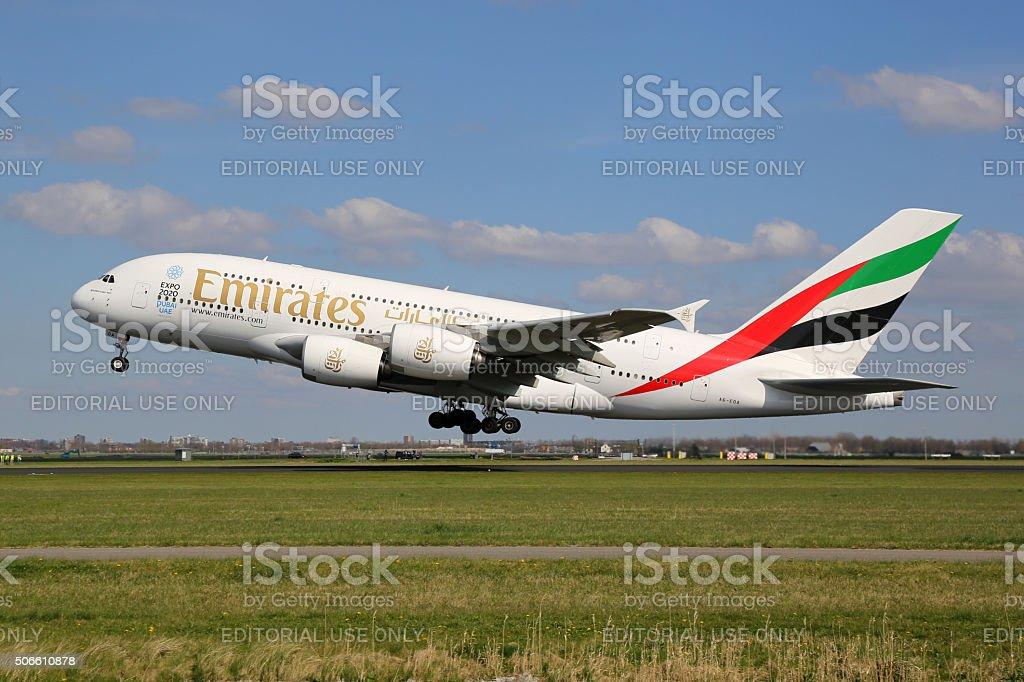 Emirates Airbus A380 airplane stock photo