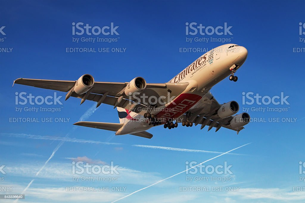 Emirates Airbus A380 at sunset stock photo