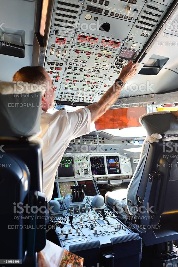 Emirates Airbus A380 cockpit interior stock photo