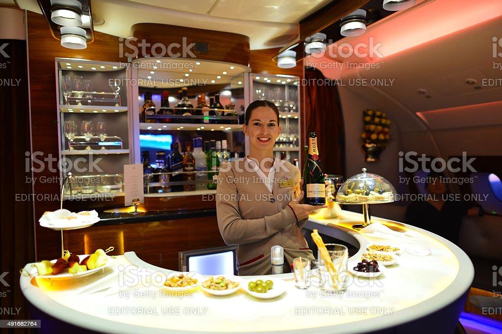 Emirates Airbus A380 interior stock photo