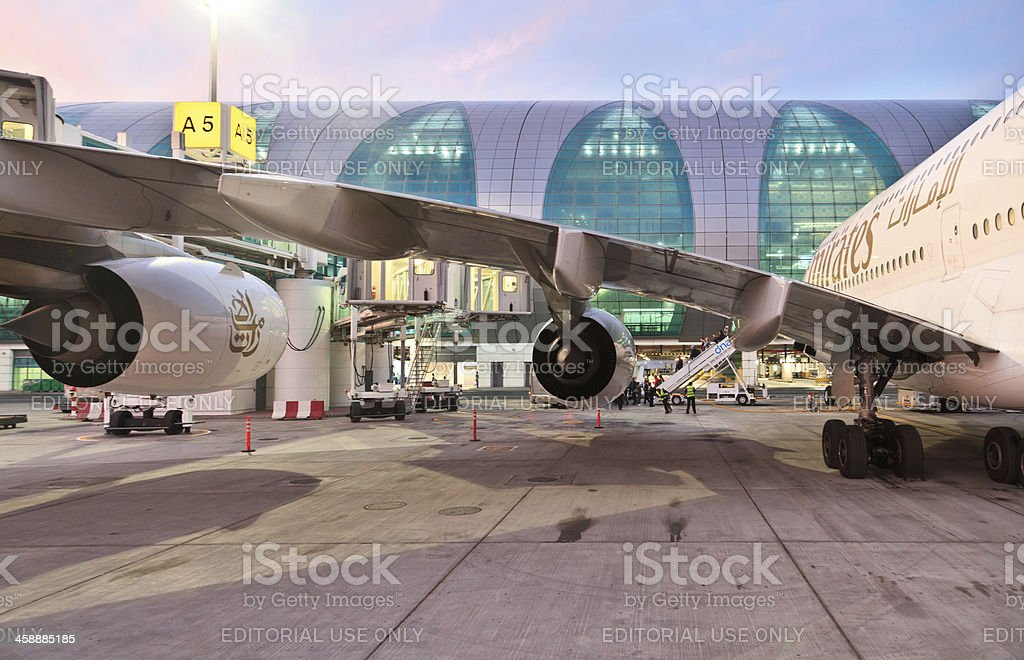 Emirates Airbus A380 stock photo