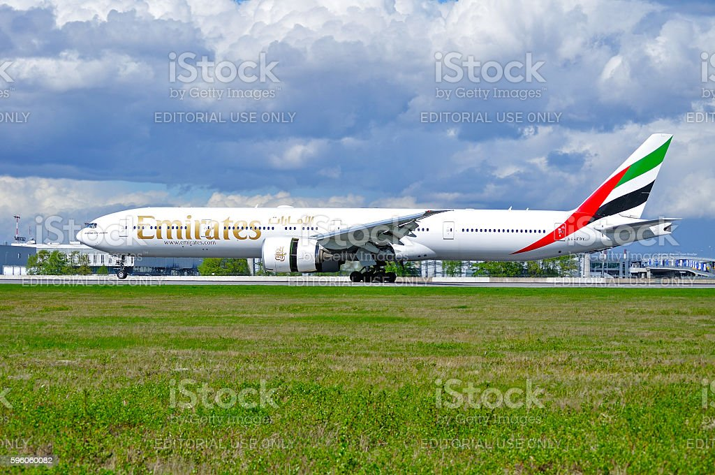 Emirates Airline Boeing 777 aircraft stock photo