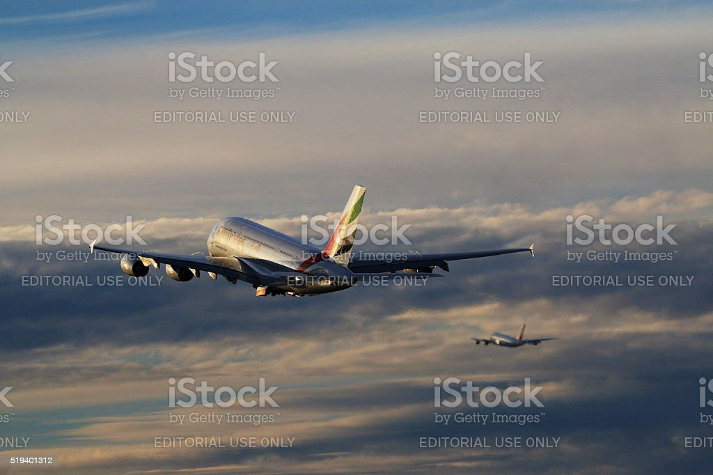 Emirates and Air France Airbus A380-800 taking off at LAX stock photo
