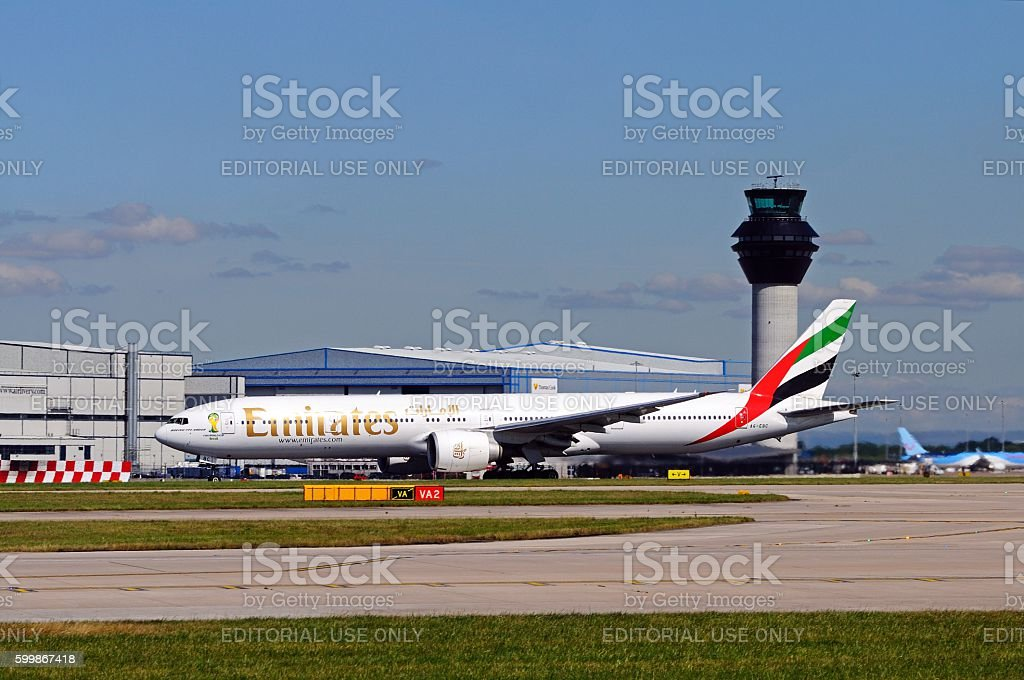 Emirates Boeing 777-300 at Manchester airport. stock photo