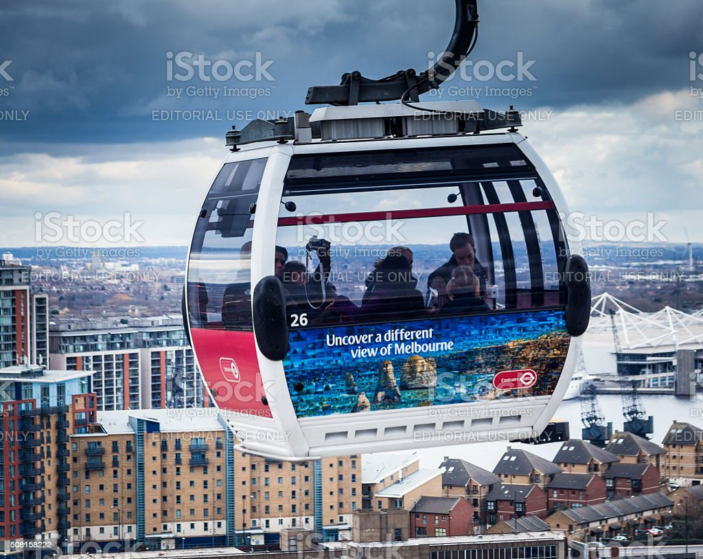 Emirates Cable Car above River Thames, Greenwich, London, UK stock photo