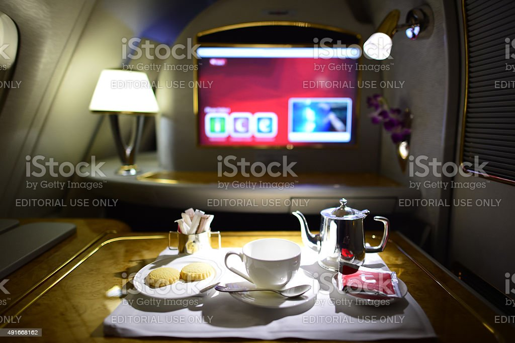 Emirates first class interior stock photo