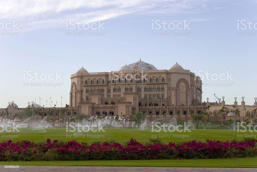 Emirates Palace and garden stock photo