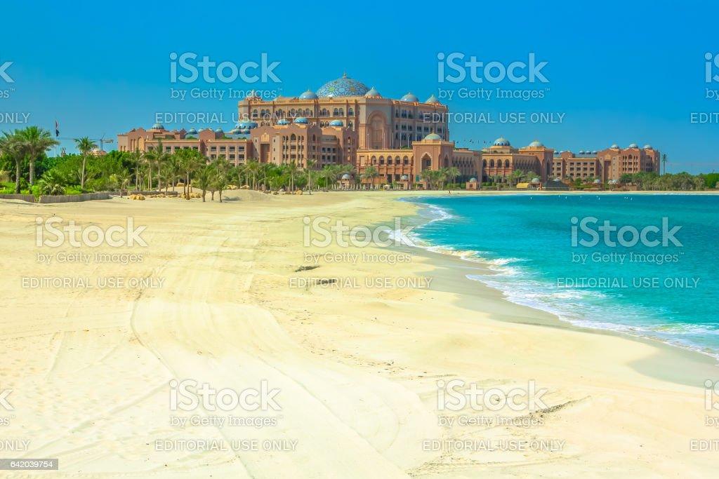 Emirates Palace beach stock photo
