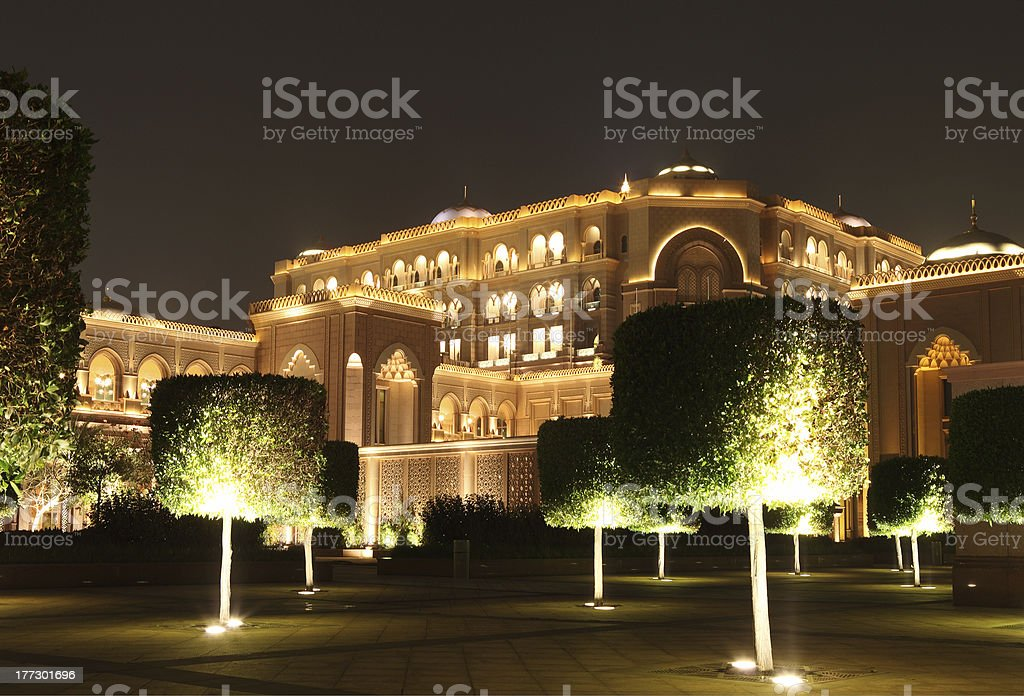 Emirates Palace Garden in the night stock photo