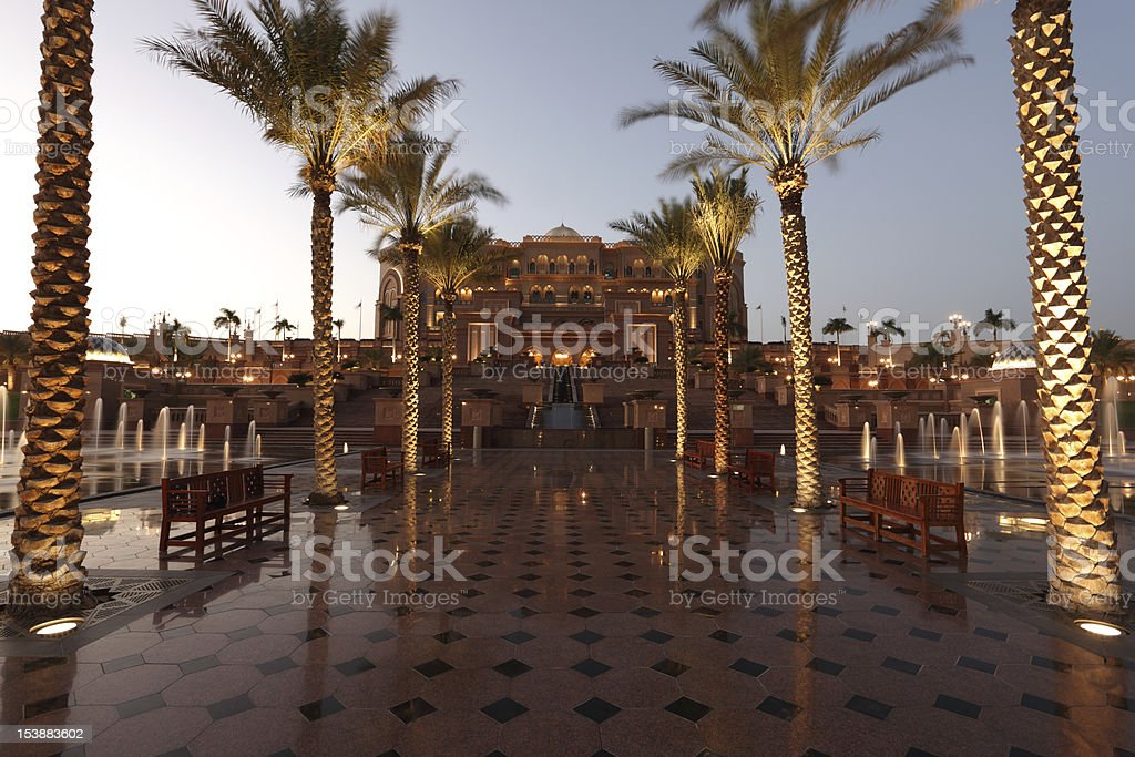 Emirates Palace in Abu Dhabi at dusk stock photo