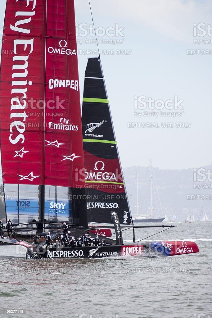 Emirates Team New Zealand's 72 foot America's Cup catamaran training stock photo