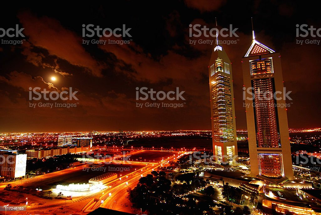 emirates tower at night royalty-free stock photo