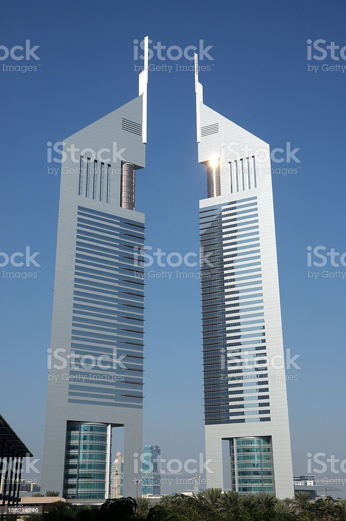 Emirates Towers, Dubai stock photo
