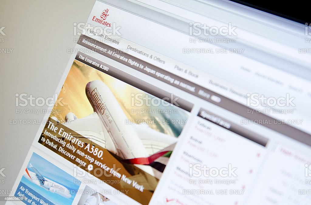 Emirates.com airlines company main page royalty-free stock photo