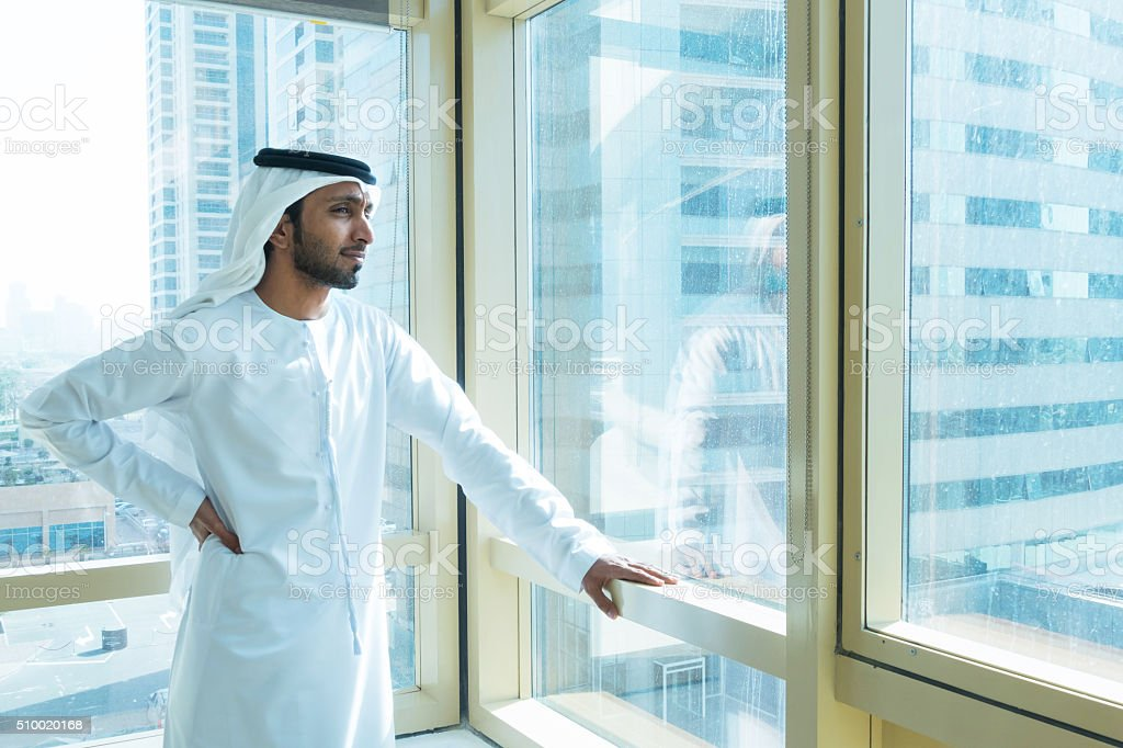 Emirati businessmen in Dubai at the office stock photo