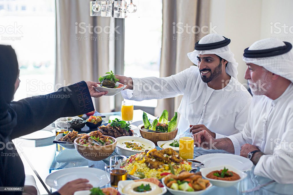Emirati family lunch stock photo