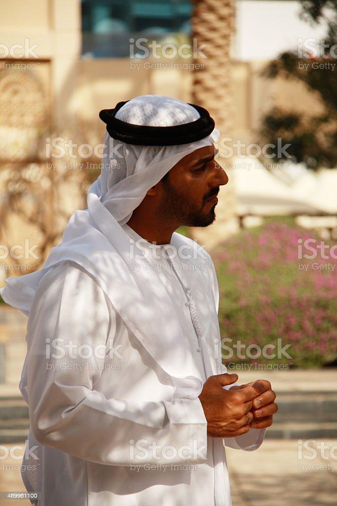 Emirati men in traditional dress, Dubai, UAE stock photo