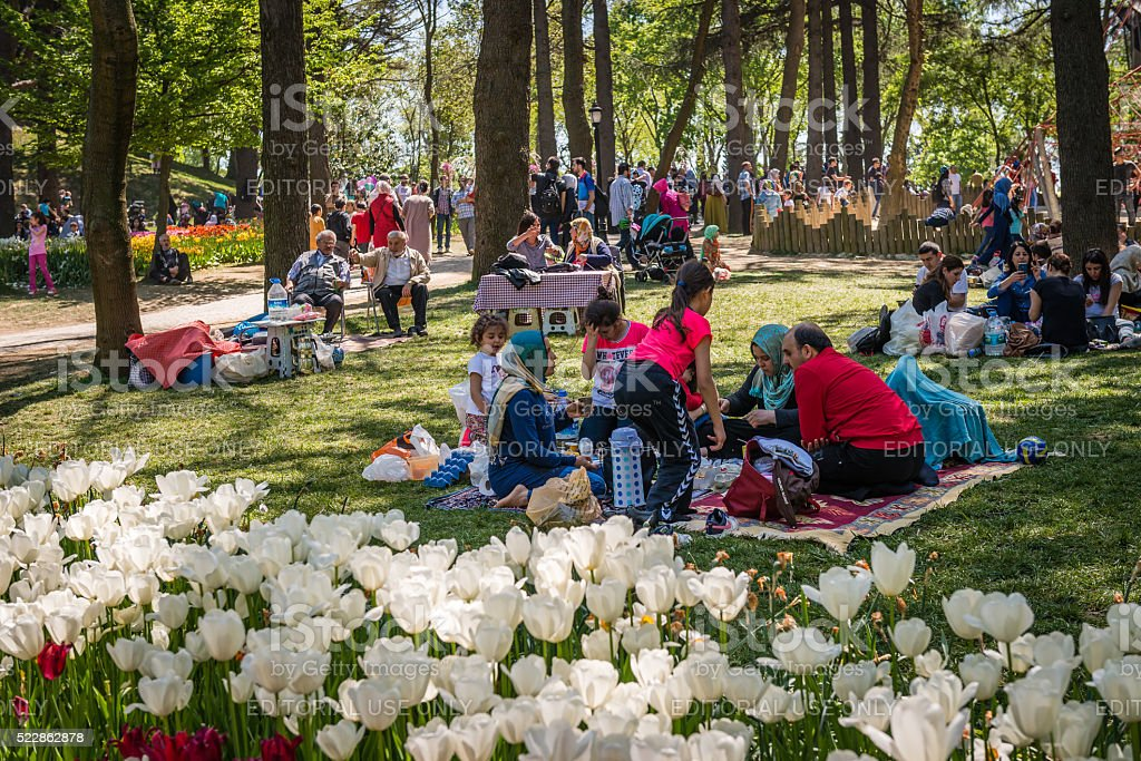 Emirgan park on the weekend in Istanbul, Turkey stock photo