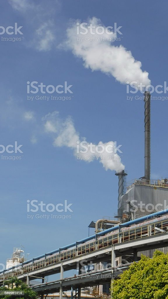 emission smoke from stack chimney boiler industry business stock photo