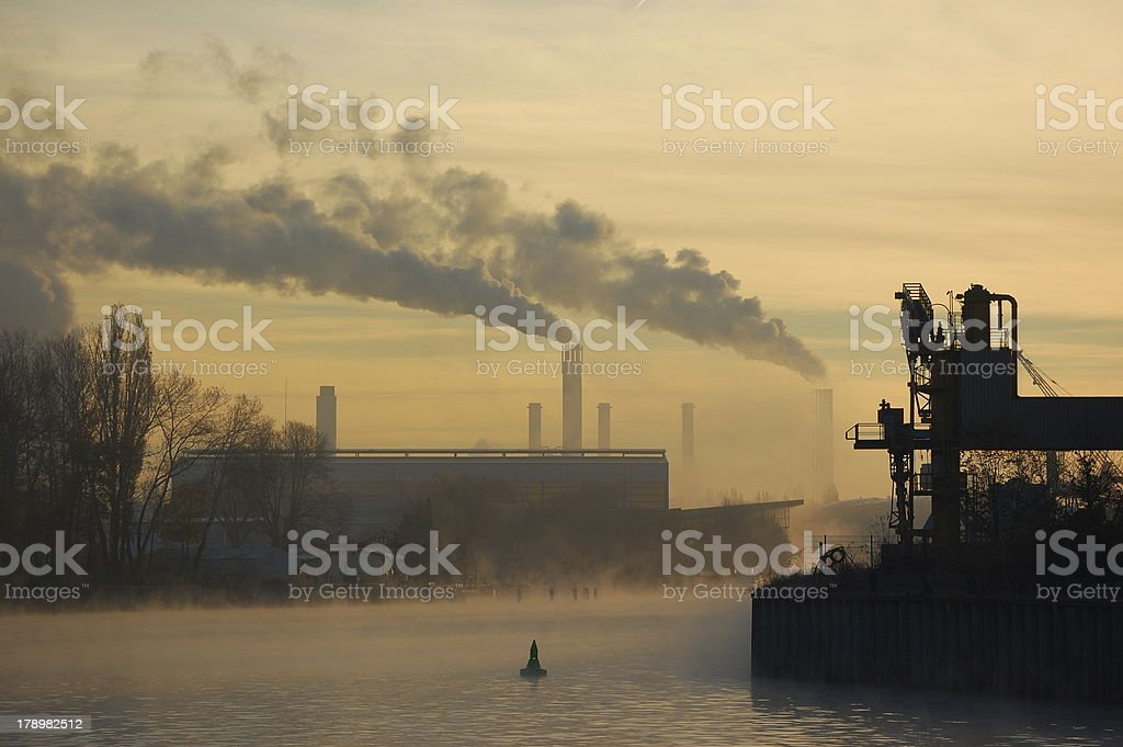 CO2 emissions of Factory stock photo
