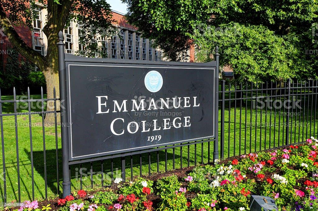 Emmanuel College in Boston stock photo