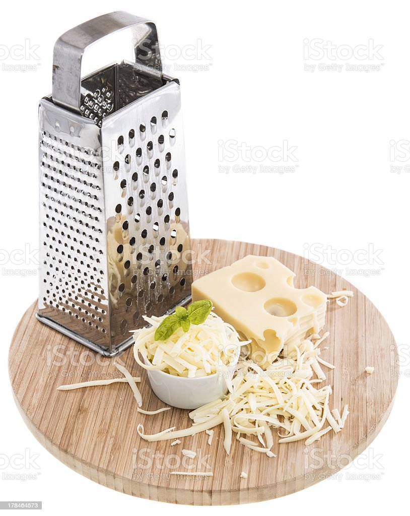 Emmentaler with Cheese Grater on white stock photo
