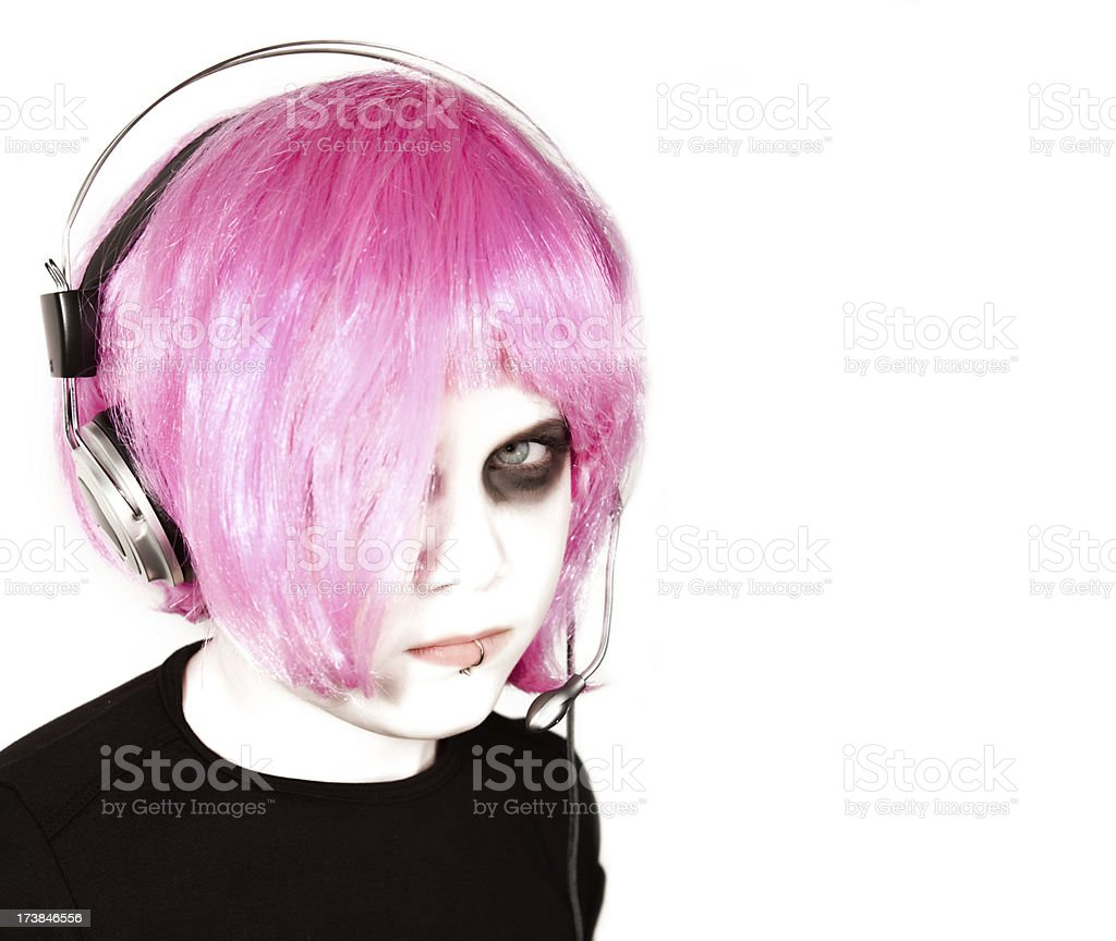 Emo Dj Girl royalty-free stock photo