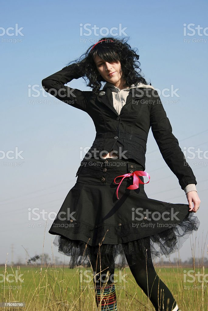 Emo in the field royalty-free stock photo