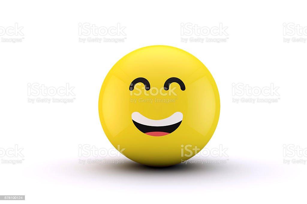 3D emoji yellow character ball stock photo