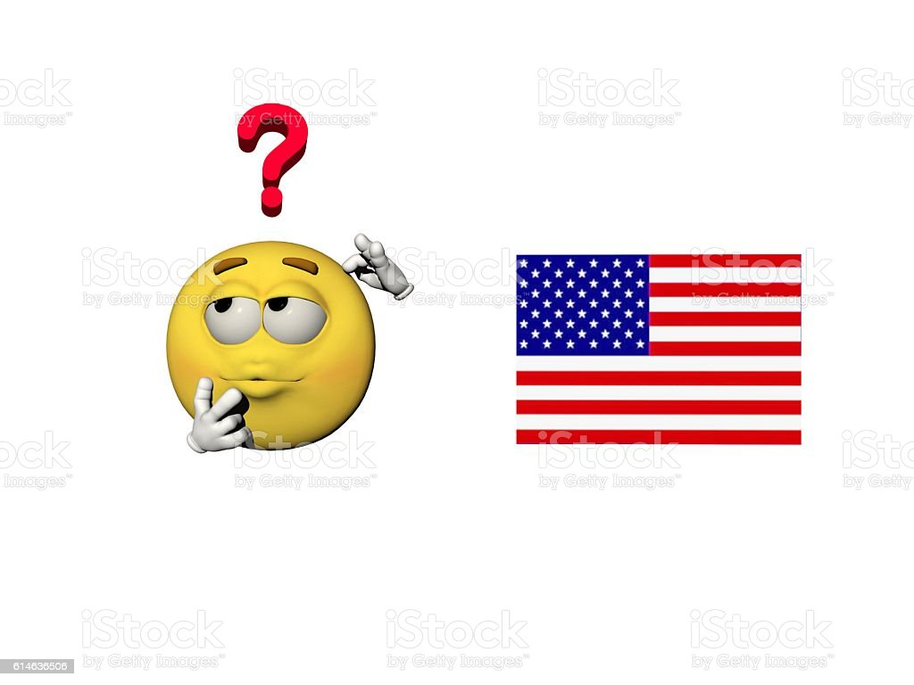 emoticon questioning the usa - 3d render stock photo