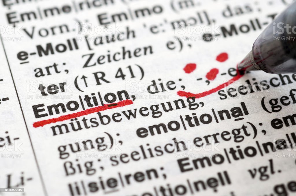 Emotion - German word drawing royalty-free stock photo