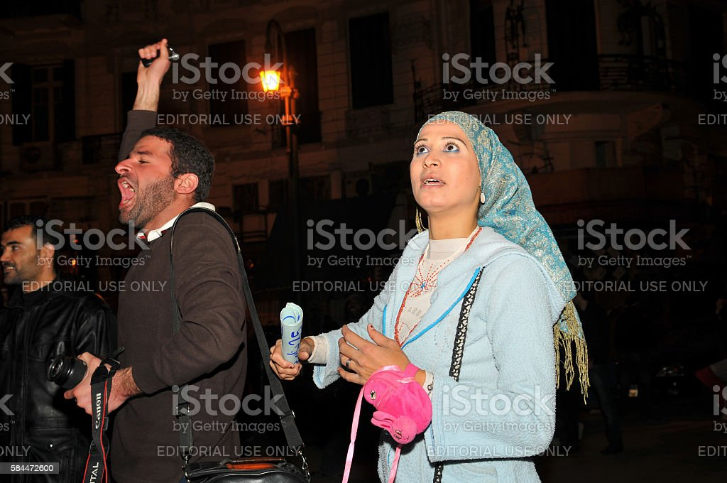 Emotion when Mubarak steps down in Cairo, Egypt stock photo