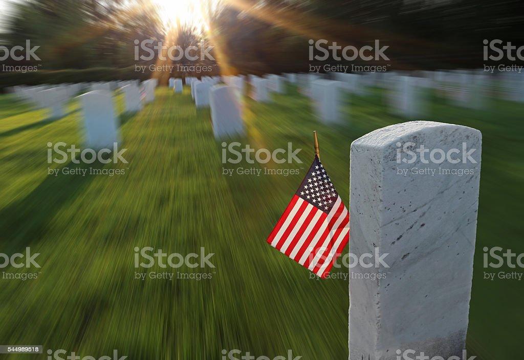 Emotional American Flag Memorial Sunset stock photo