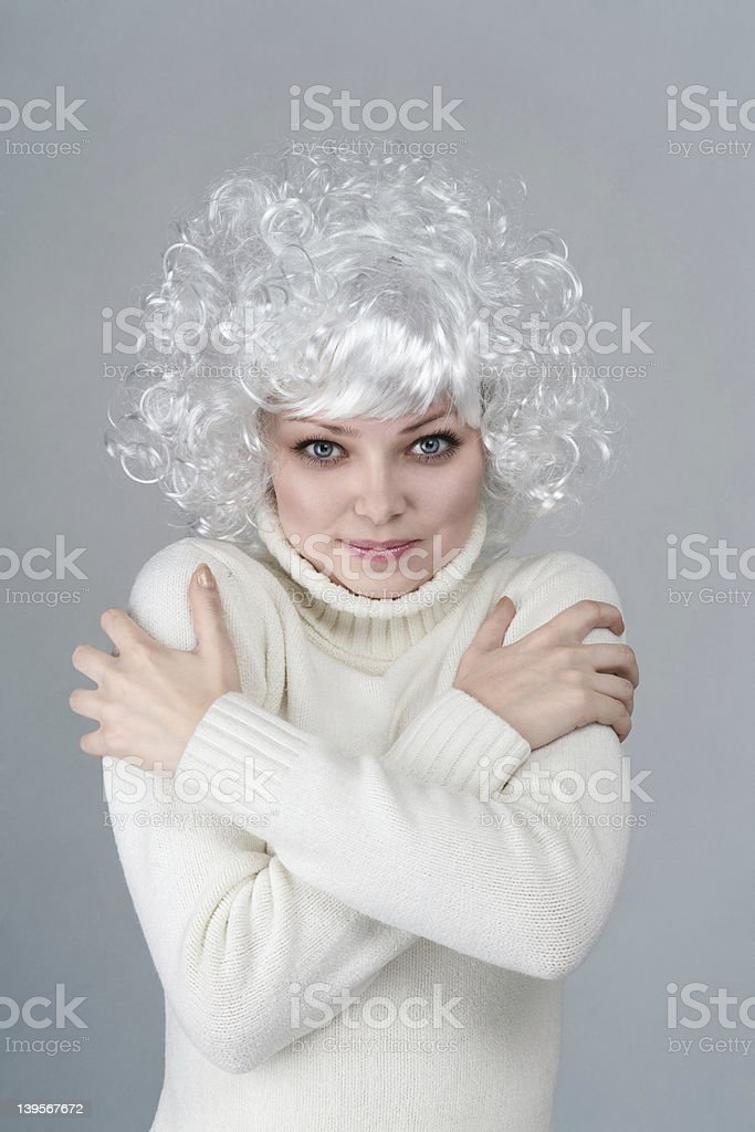 Emotional cold blonde woman stock photo
