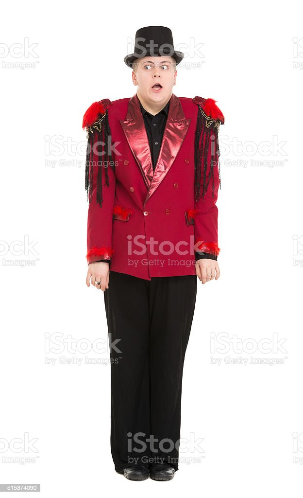 Emotional Entertainer in Red Suit and Silk Hat stock photo