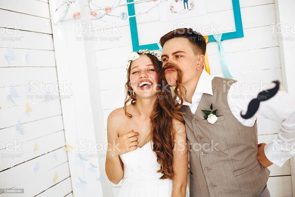 Emotional Funny Moment of Wedding stock photo