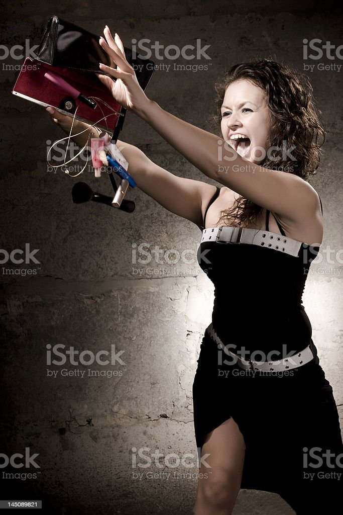 Emotional girl with cosmetics stock photo