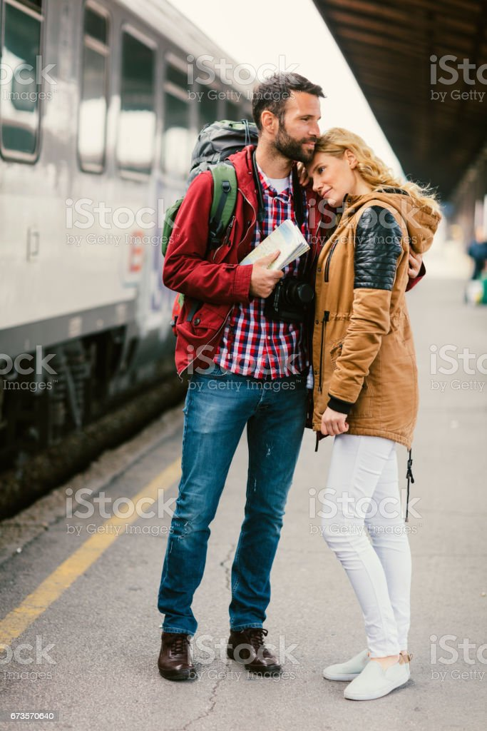 Emotional Goodbyes stock photo