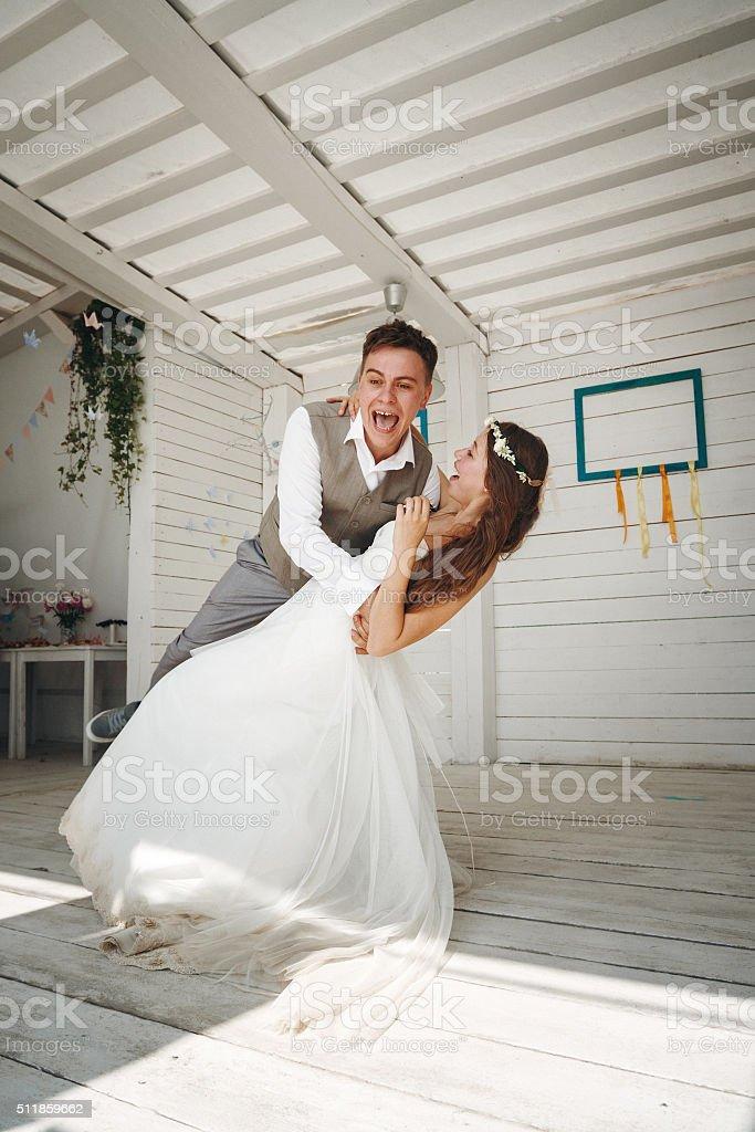 Emotional Moment of Wedding Dance stock photo