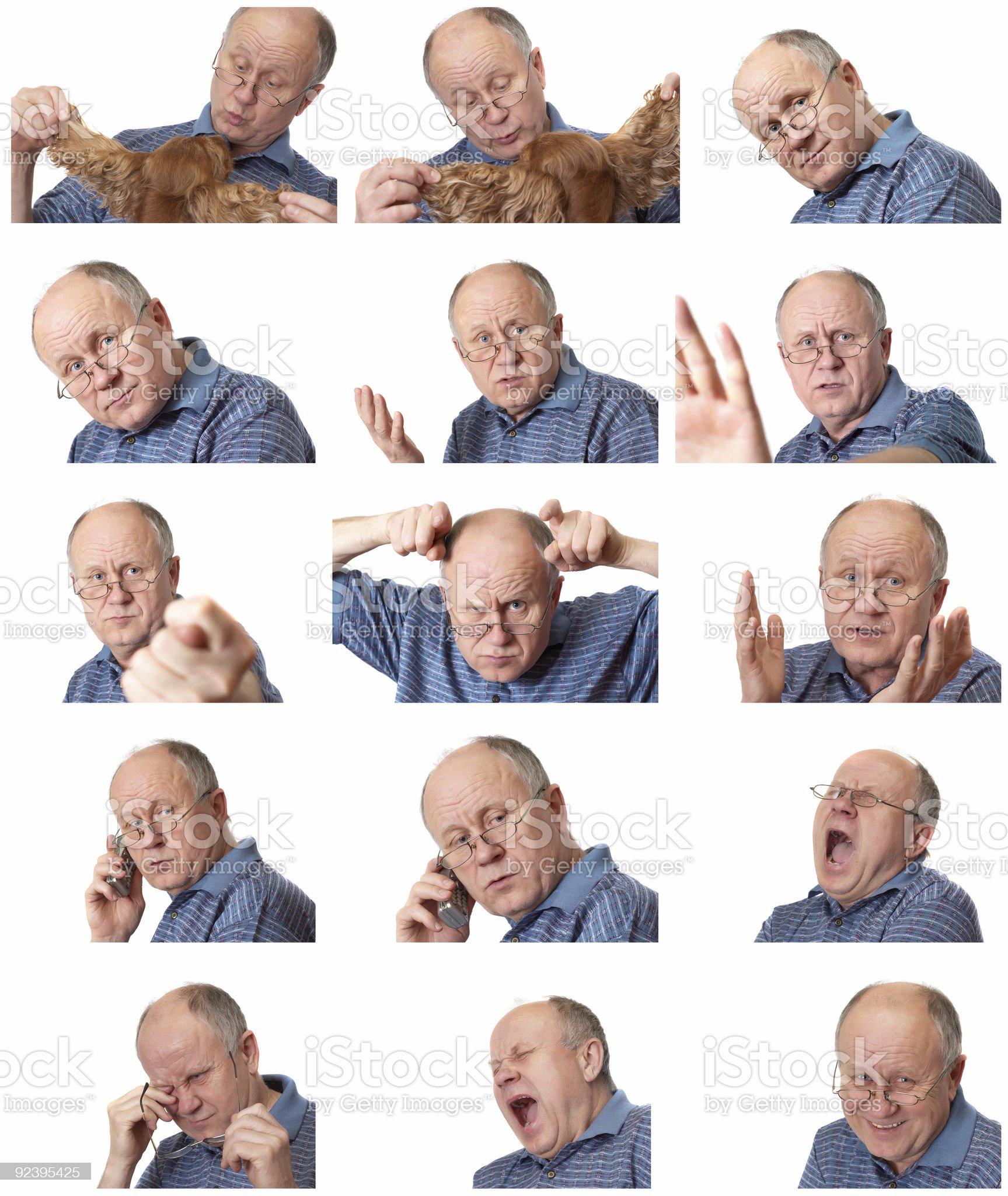 emotional senior male set royalty-free stock photo