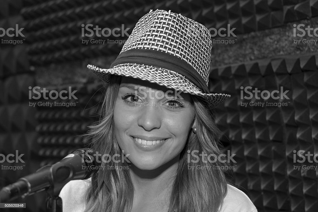 Emotional singer stock photo