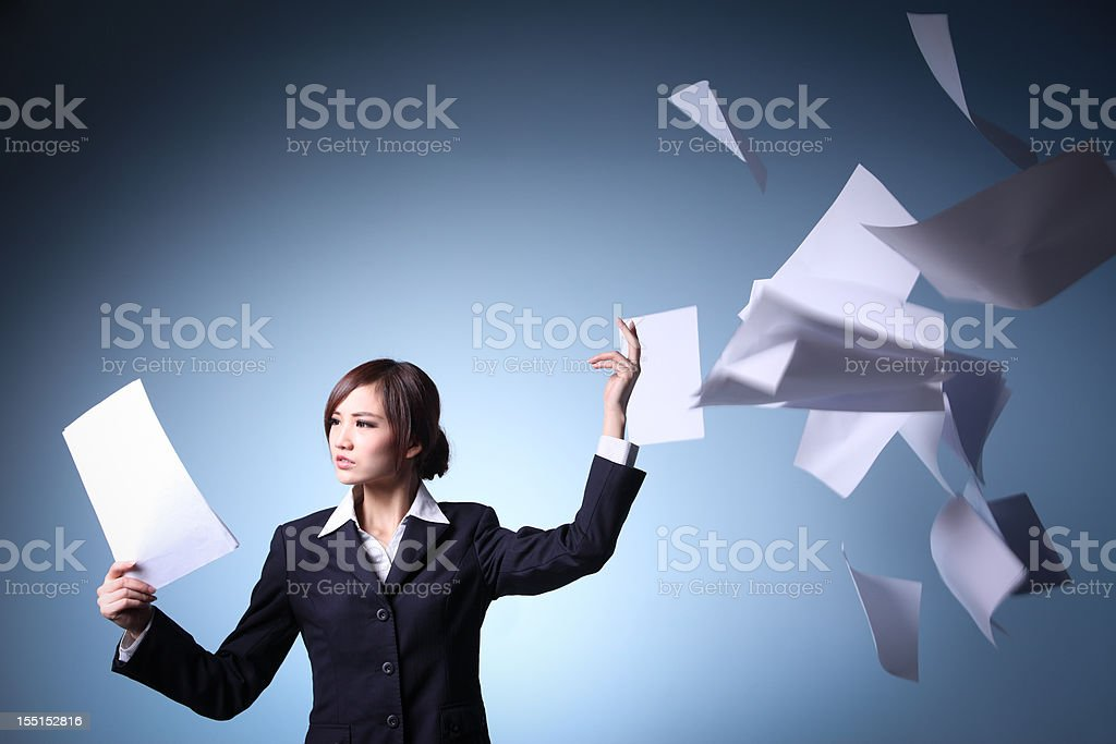 Emotional stress of Asian  Businesswomen stock photo