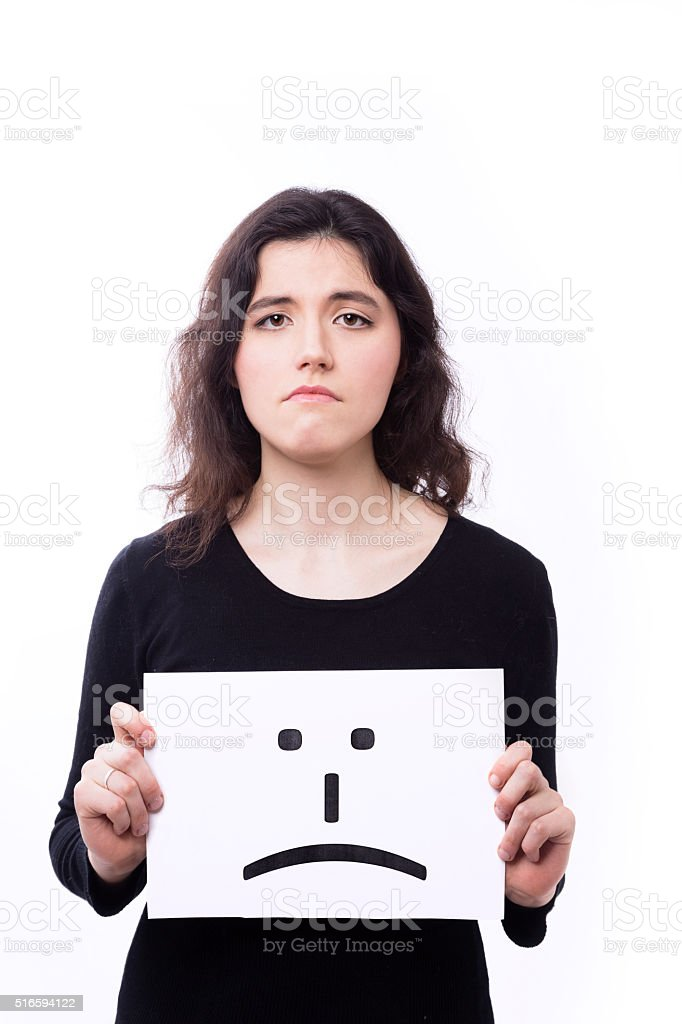 emotional  woman with emoticon stock photo