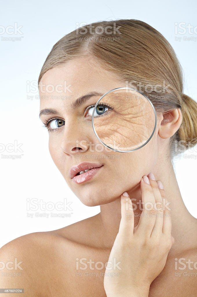 Emotional wrinkles stock photo
